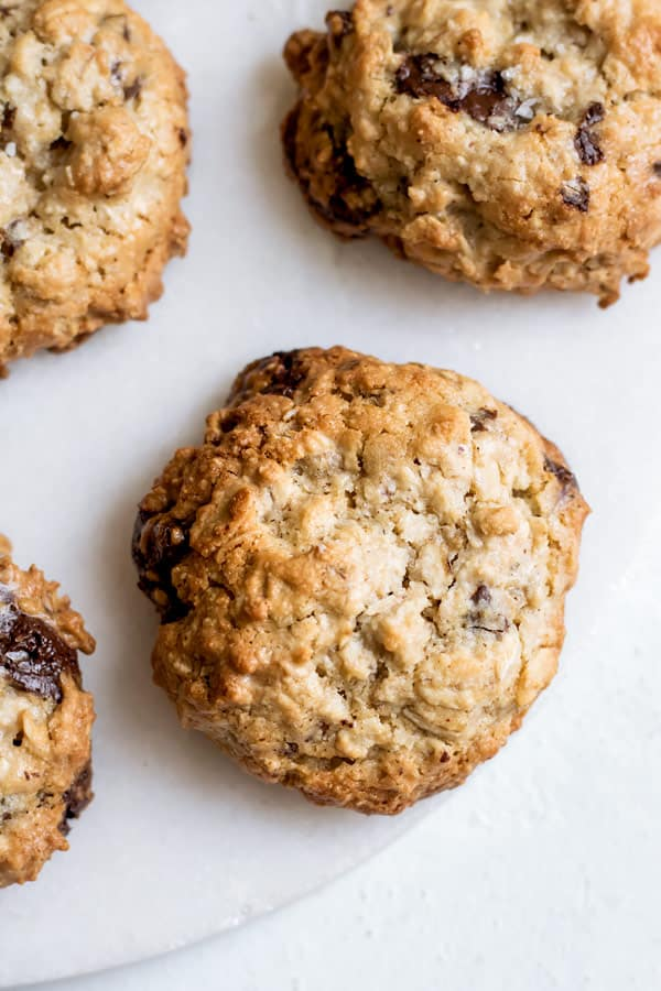 chocolate chunk tahini oatmeal cookies