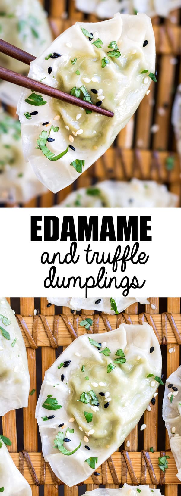 These Edamame and truffle dumplings are a delicious and healthy appetizer or snack recipe! You'll love how easy they are to make too!