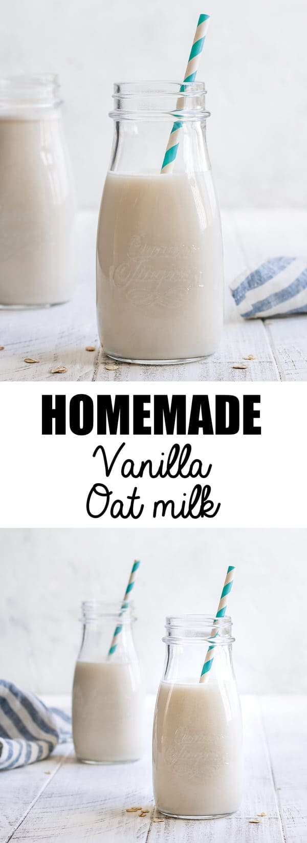 Looking for an alternative to almond milk? Try this homemade vanilla oat milk! Learn how to make oat milk the easy way with this simple recipe. #oatmilk #plantbasedmilk #nondairymilk
