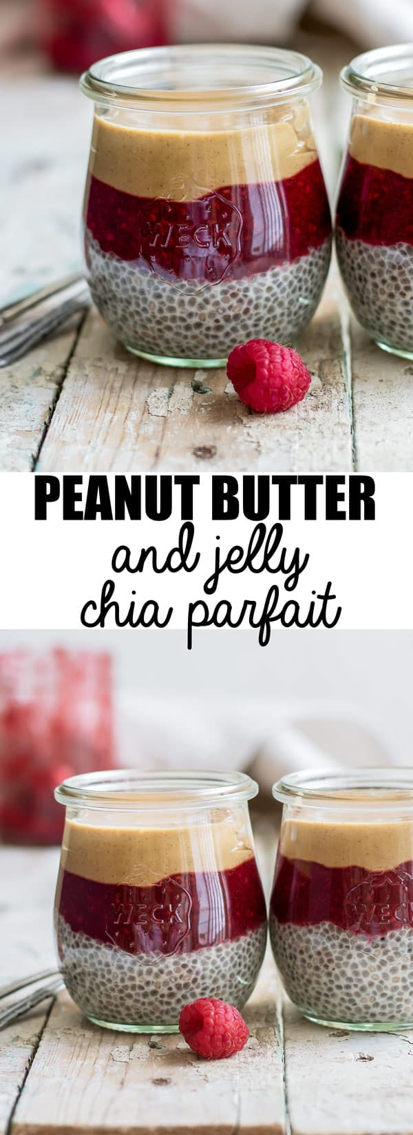This peanut butter and jelly chia parfait is made with a creamy vanilla almond milk chia pudding base. They then get topped with a quick & easy chia berry jam, and finally finished off with some delicious smooth peanut butter. Enjoy this parfait for breakfast, a healthy snack, or dessert!