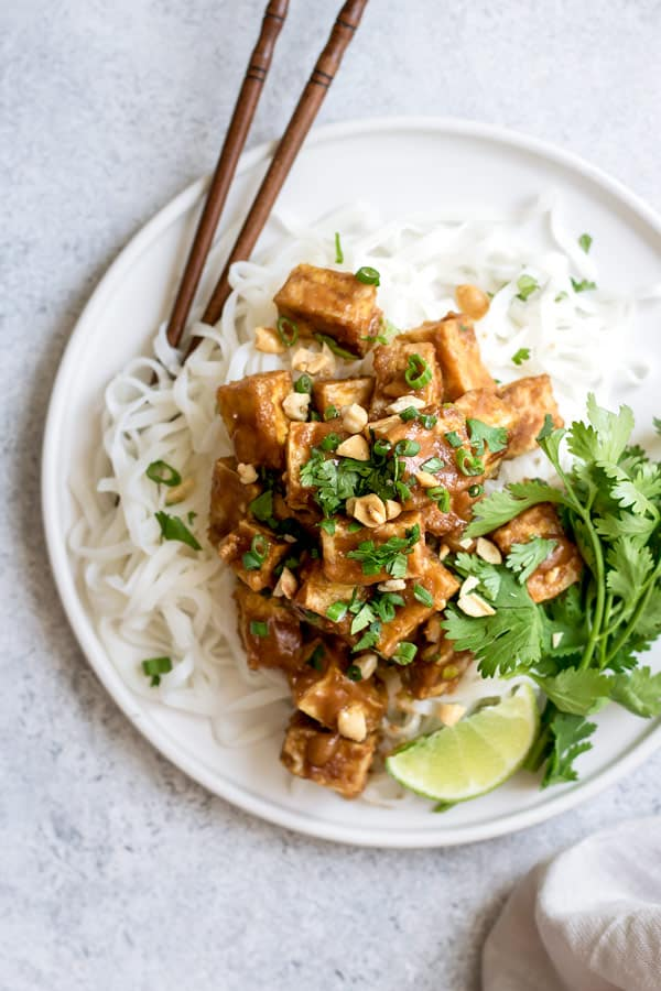 spicy baked peanut butter tofu