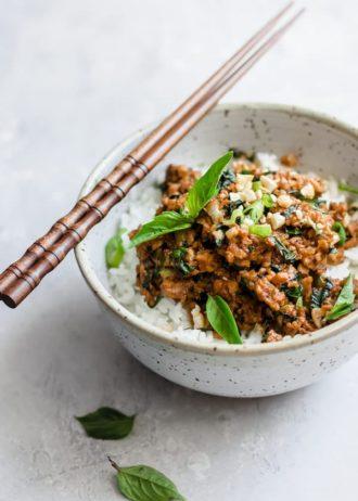 Thai basil tempeh stir fry