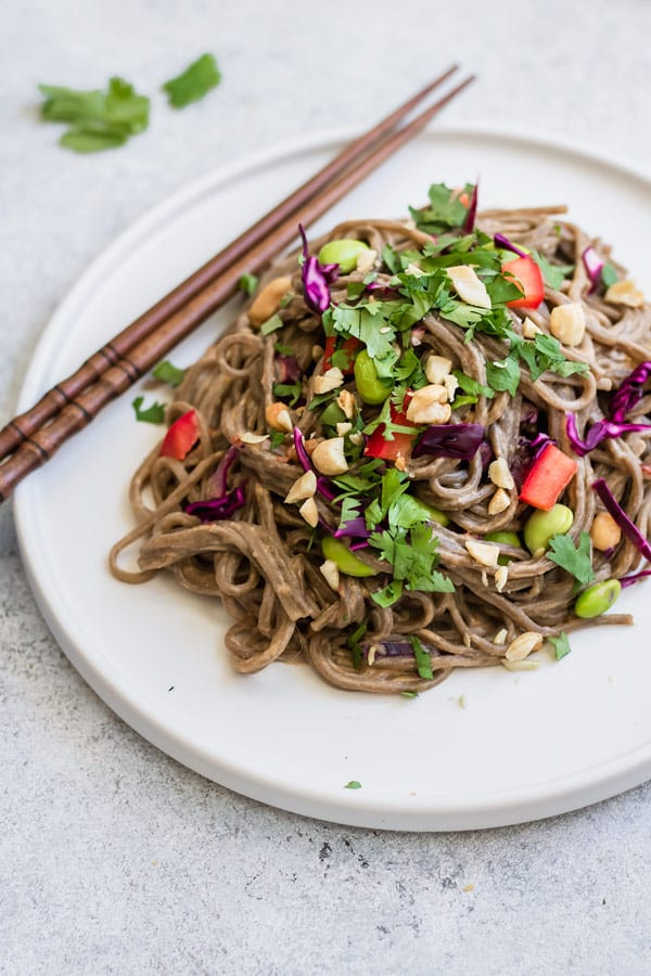 cold soba noodle salad with spicy peanut sauce