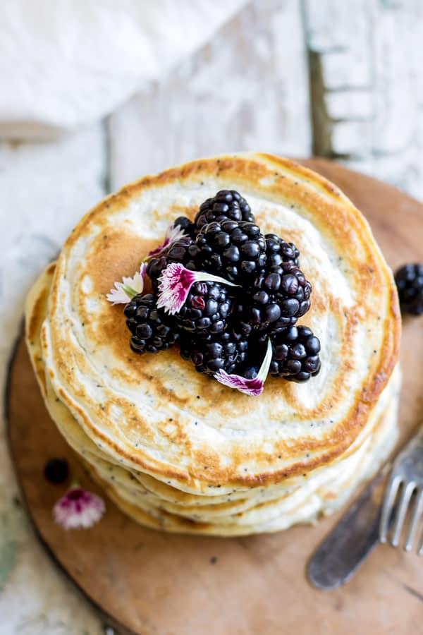 Lemon poppy seed spelt pancakes