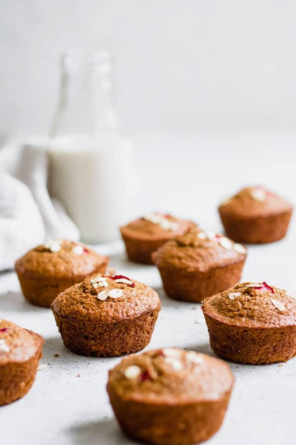 rhubarb oat bran muffins