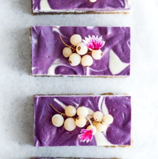 vegan blueberry lemon cheesecake bars