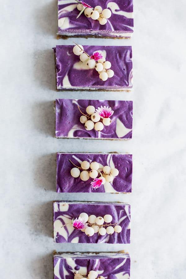 vegan blueberry lemon cheesecake bars