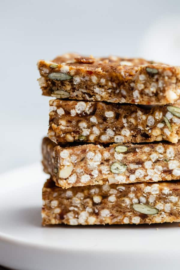 four puffed quinoa bars stacked