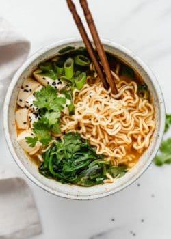 healthy homemade vegan ramen in bowl