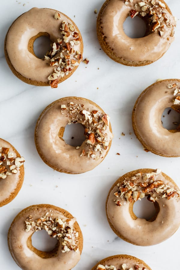 vegan chia latte donuts with maple glaze