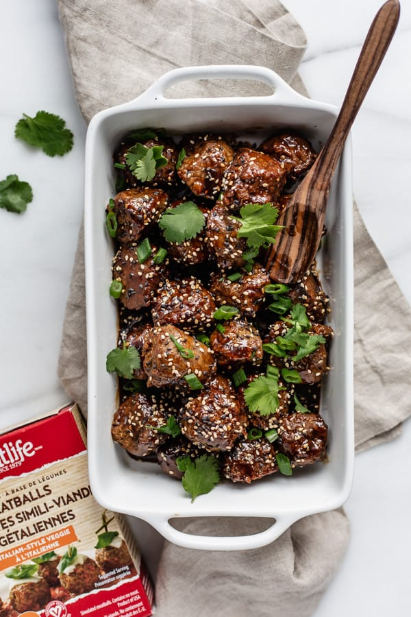plant-based sweet and sour meatballs