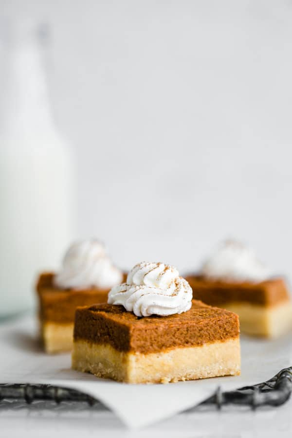 pumpkin pie bars with almond cookie crust