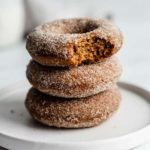 vegan gingerbread donuts with gingerbread sugar