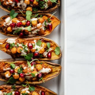 Moroccan stuffed sweet potatoes