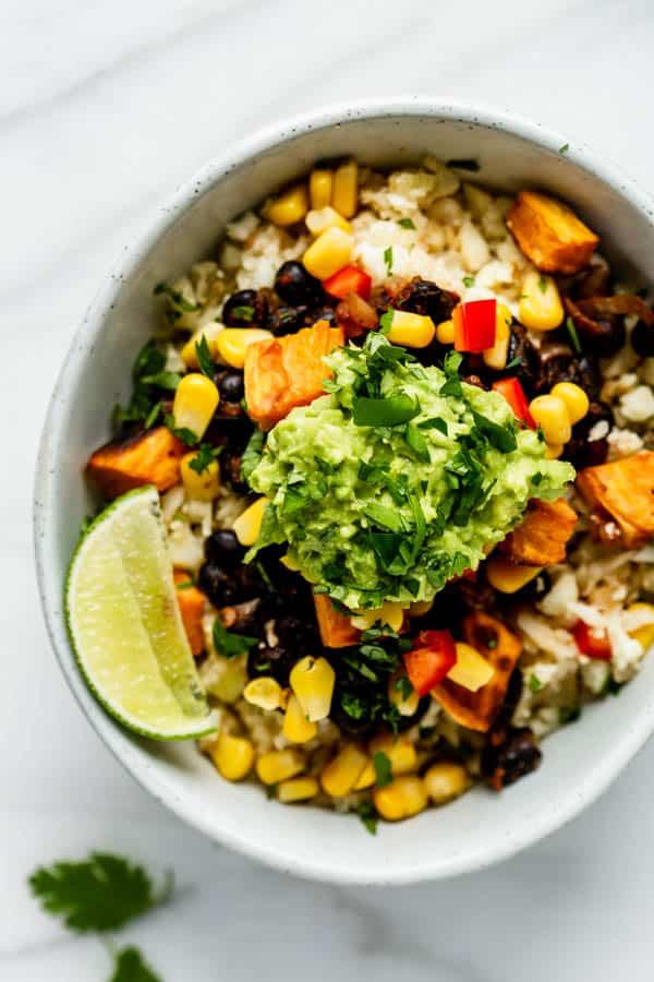 Cauliflower rice burrito bowl [vegan, gluten-free & grain-free]