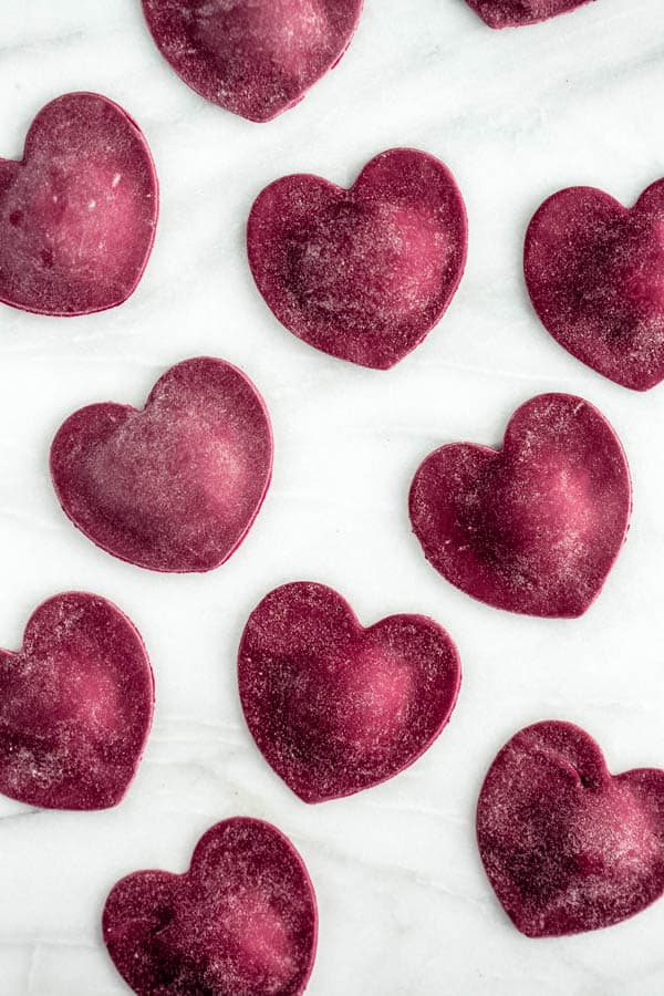 heart beet ravioli