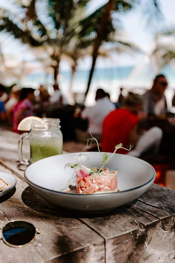 tuna tartare on the beach
