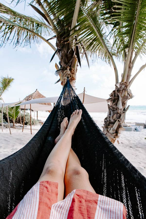 the beach and hammock in tulum