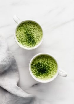 two cups of matcha tea latte