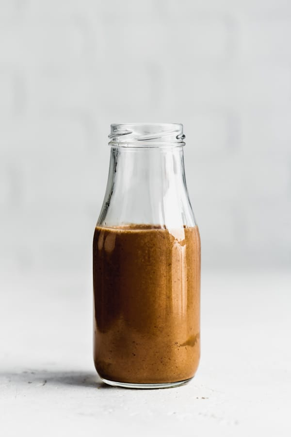a coffee smoothie in a small glass bottle