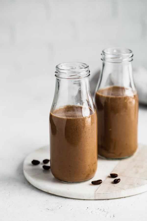 two coffee smoothies in jars