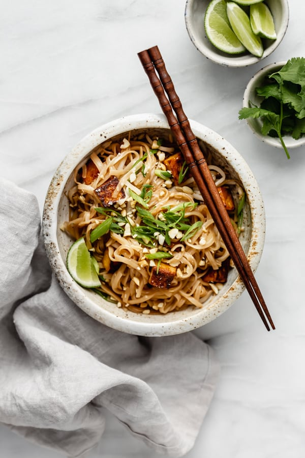 a bowl of vegan pad thai with tofu