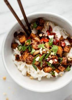 bowl of Kung pao tofu