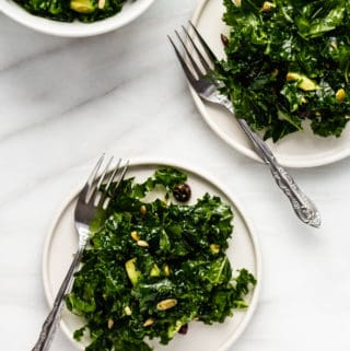 massaged kale salad recipe with avocado and cranberries on 2 plates