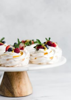 mini pavlovas with coconut whipped cream