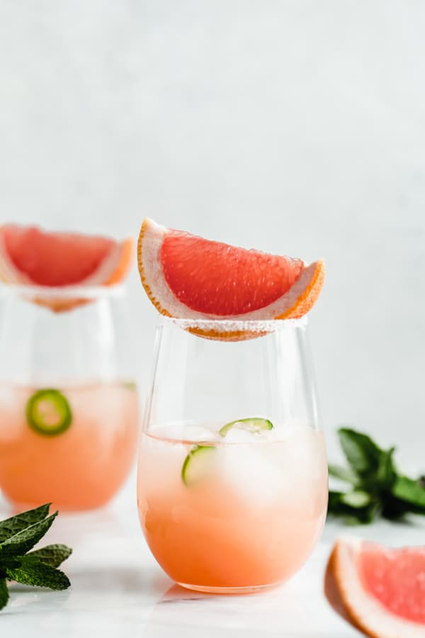 Spicy grapefruit margaritas