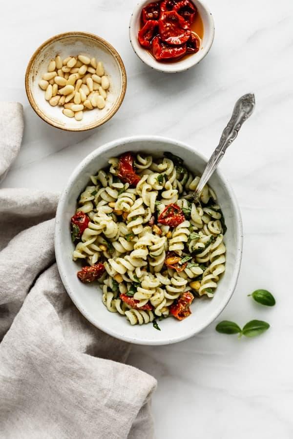 gluten-free pesto pasta salad