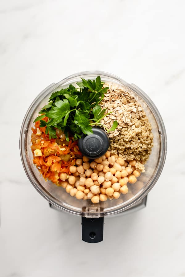 chickpea veggie burger ingredients in a food processor