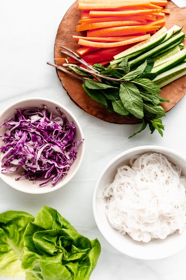 A flat lay of ingredients for fresh spring rolls