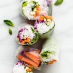 fresh spring rolls on a marble board