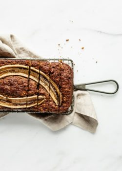 vegan banana bread on a cooling rack