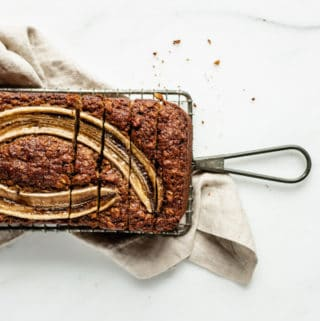 vegan banana bread on a cooling rack