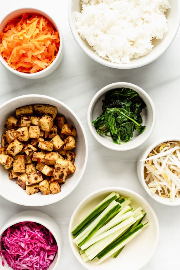 a flat lay of ingredients for a vegan bibimbap