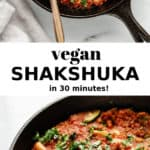 a cast iron skillet with vegan shakshuka