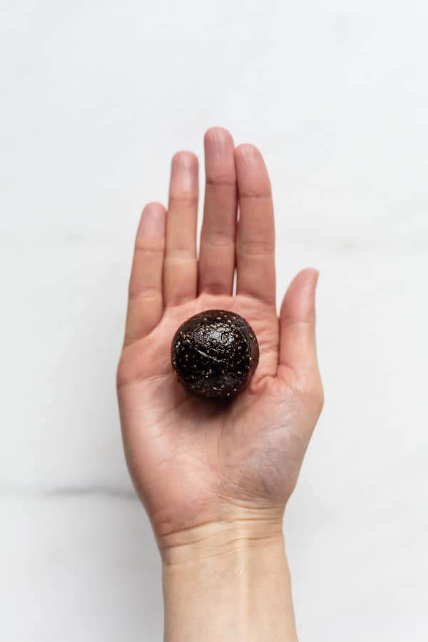 a hand holding a chocolate energy ball