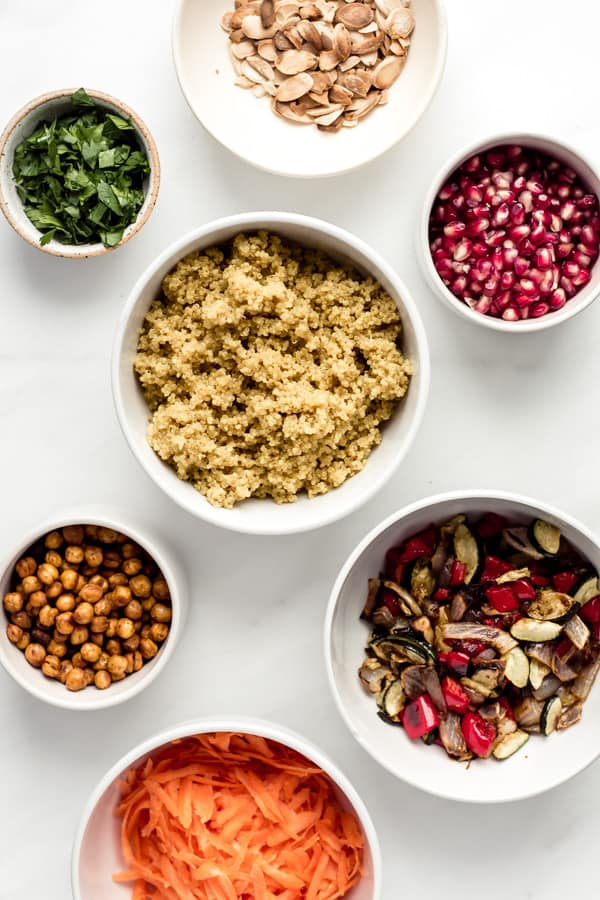 a flat lay of ingredient to make a Moroccan quinoa salad