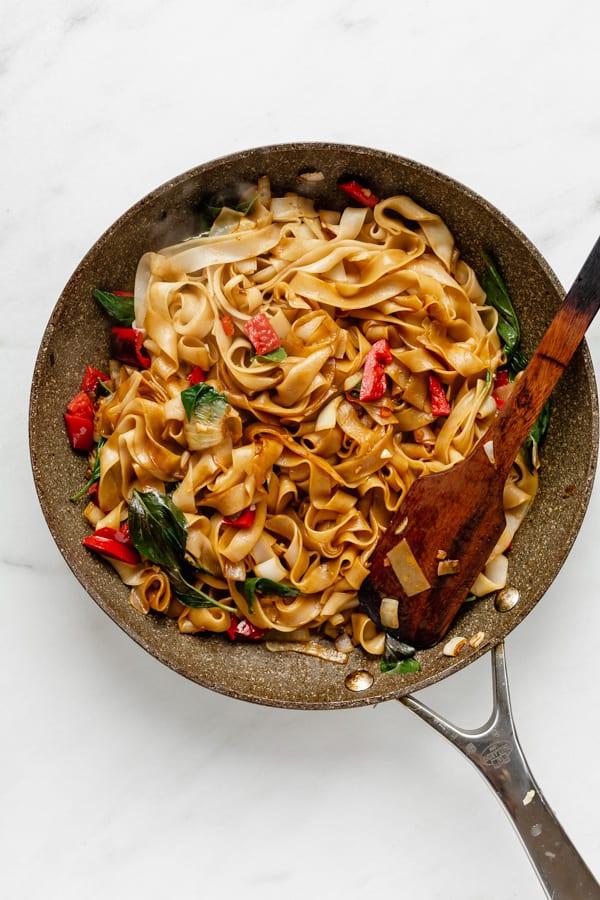 drunken noodles in a pan