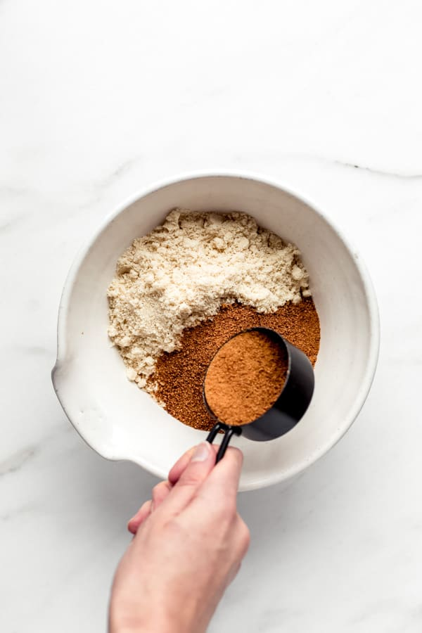 a bowl of almond flour and coconut sugar