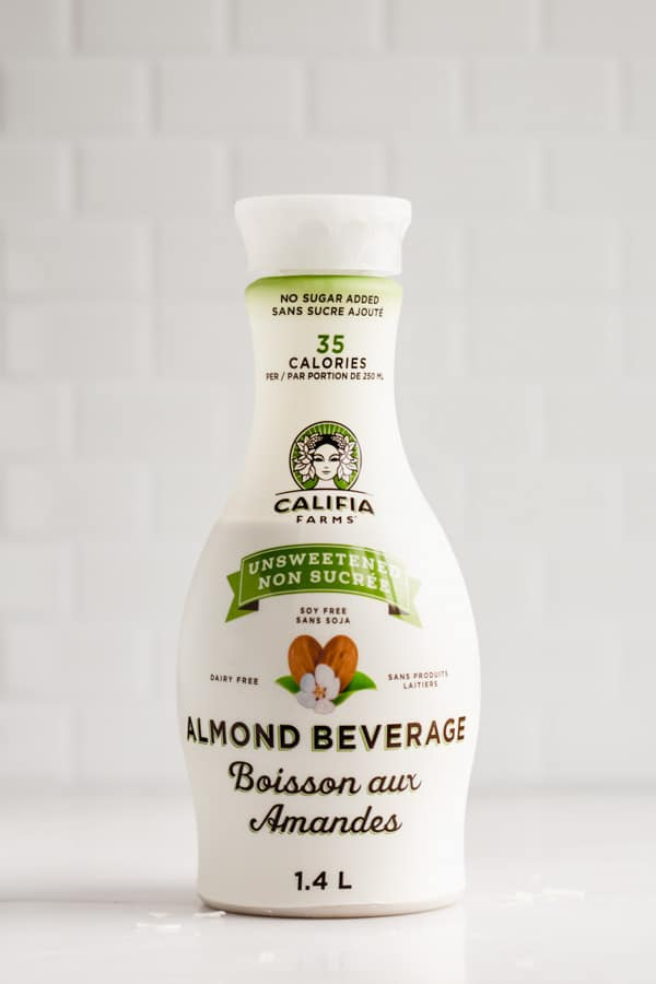 a bottle of califia farms almond milk