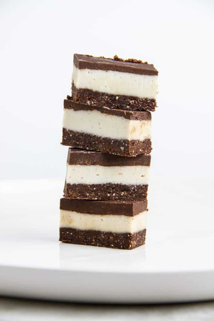 a stack of 4 raw peppermint bars