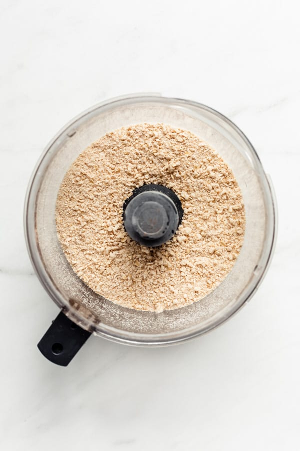 A food processor with crisp topping