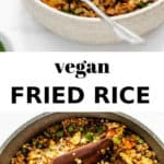 vegan fried rice in a pan