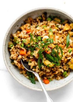 top down image of vegan fried rice with sliced green onions on top