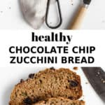 sliced up zucchini bread with chocolate chip on it