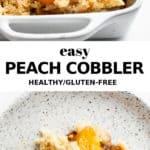 peach cobbler on a speckled ceramic plate