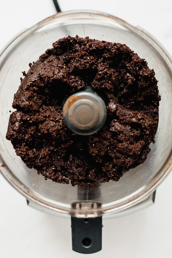 blended no bake brownie mixture in a food processor